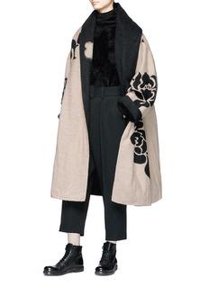 Ms MIN Floral jacquard oversized wool blend felt coat