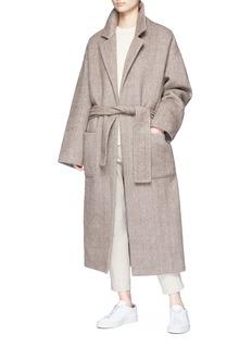 Ms MIN Belted oversized wool blend robe coat