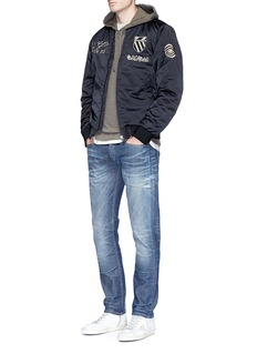 Scotch & Soda Slogan embroidered padded bomber jacket
