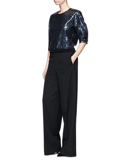 Lanvin Balloon sleeve sequin cropped top