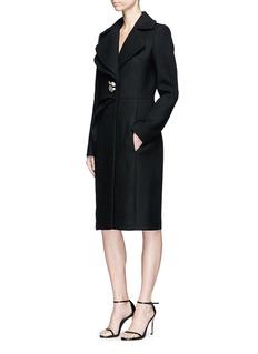 Lanvin Swavorski crystal brooch pleated wool blend coat