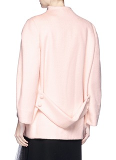 Lanvin Glass crystal button cocoon sleeve melton jacket