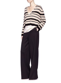 Lanvin Metallic stripe oversized cropped sweater