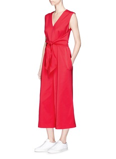 Tibi Tie waist stretch faille jumpsuit