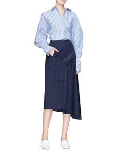 Tibi 'Delmont' pinstripe asymmetric drape virgin wool blend skirt