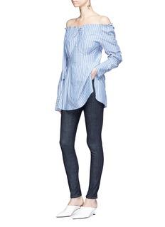 Tibi 'Garcon' drawstring off-shoulder stripe poplin shirt