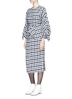 Tibi 'Fairfax' safety pin cuff gingham check cropped top