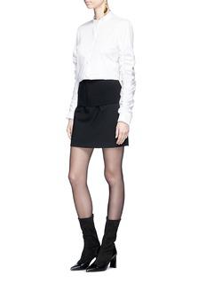 Tibi 'Camille' rib knit overlay crepe mini skirt