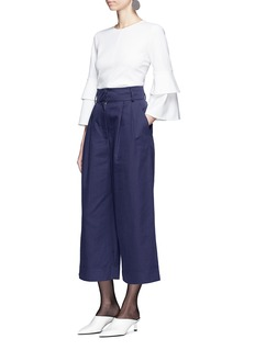 Tibi Tiered bell cuff crepe top