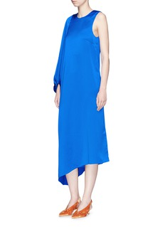 Tibi Single sleeve asymmetric hem satin dress