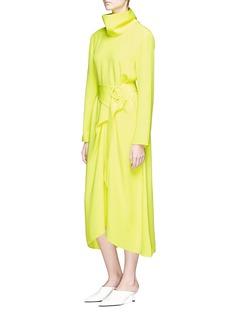Tibi Belted silk turtleneck dress