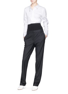Tibi 'Hanne Corset' rib knit panel high waist suiting pants