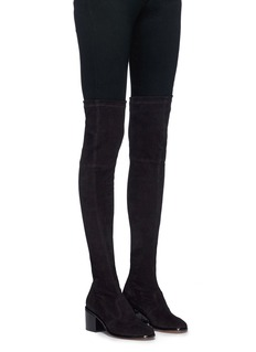 Robert Clergerie 'Mepe' patent heel suede thigh high sock boots