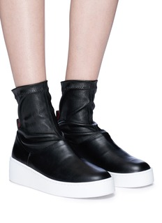 Robert Clergerie 'Teniera' mixed leather platform sock boots
