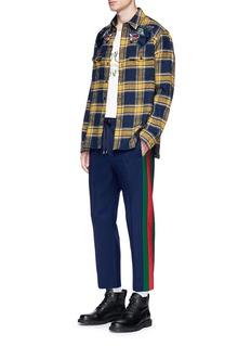 Gucci Wolf appliqué check plaid flannel shirt