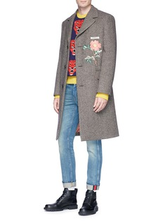 Gucci Poppy flower appliqué hopsack coat