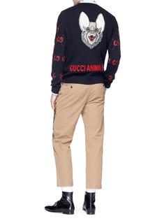 GUCCI 野兔图案品牌标志刺绣羊毛针织衫