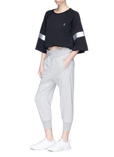 P.E Nation 'Power Hitter' metallic stripe wide sleeve cropped sweatshirt