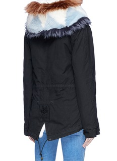Mr & Mrs Italy Raccoon and fox hood trim rabbit fur mini parka
