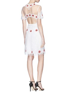Temperley London 'Leaf' lip and wavy embroidered mesh mini dress