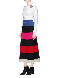 Sonia Rykiel Striped wool-blend mixed knit midi skirt