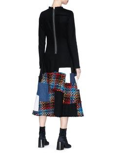 Sonia Rykiel Bouclé and denim patchwork twill dress