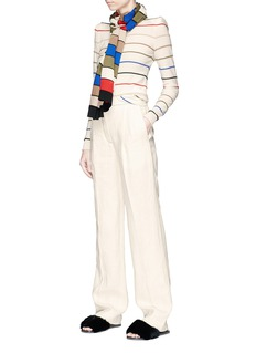 Sonia Rykiel High waist pleated linen wide leg pants