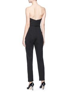 Oscar de la Renta Gardenia brooch strapless gabardine corset jumpsuit