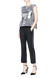 Oscar de la Renta Metallic sequinned silk organza peplum top