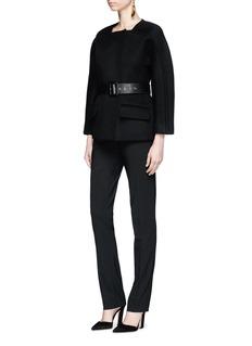 Oscar de la Renta Virgin wool blend melton jacket
