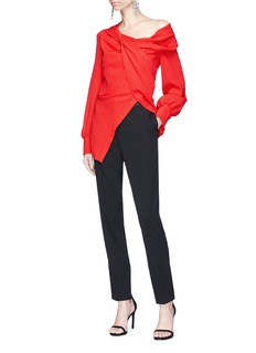 Oscar de la Renta One-shoulder knotted crepe blouse