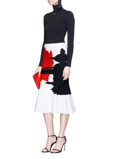 Oscar de la Renta Abstract knit flared fishtail skirt
