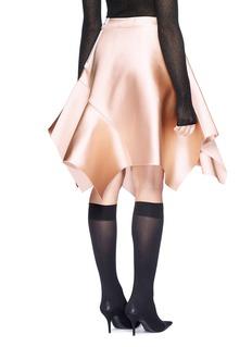Dawei Asymmetric peplum bonded taffeta skirt