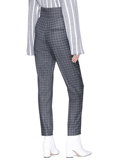 Dawei Windowpane check pleated cropped flannel pants