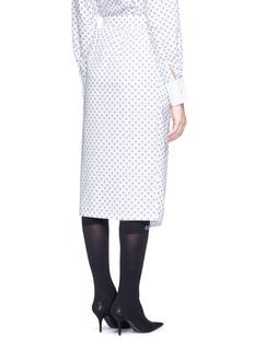 Dawei Cat print slant placket poplin midi skirt