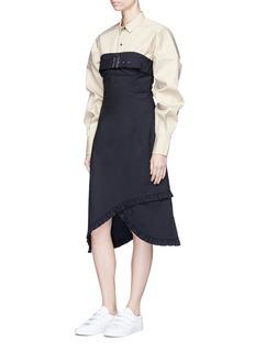 Shushu/Tong Belted chest asymmetric ruffle hem bustier dress