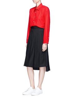 Shushu/Tong Asymmetric collar padded shoulder poplin shirt