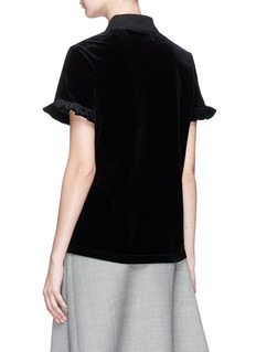 Shushu/Tong Ruffle velvet polo shirt