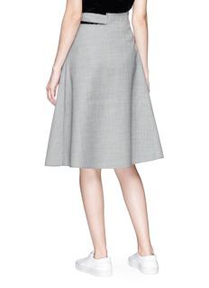 Shushu/Tong Pleated wool houndstooth mock wrap skirt