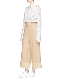Shushu/Tong Petal cuff floral print Oxford shirt