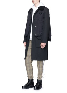 Tim Coppens Shearling collar layered cavalry twill trench coat