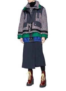 Sacai Colourblock windbreaker panel oversized tweed jacket
