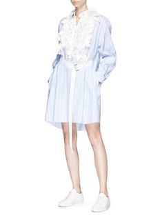 Sacai Floral crochet stripe poplin shirt dress