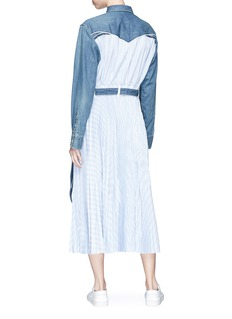 Sacai Denim yoke pleated stripe poplin maxi dress