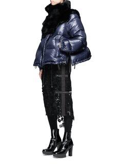 Sacai Detachable sleeve fur collar down puffer jacket