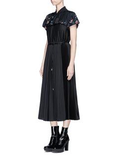 SacaiFloral embroidered taffeta yoke pleated dress