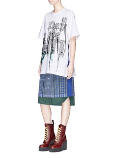 Sacai 'A Day in the Life' slogan embroidered fringe oversized T-shirt