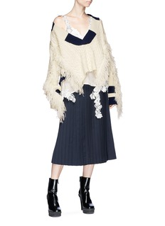 Sacai Fringed wool cable knit sweater