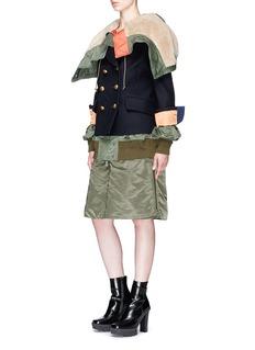 Sacai Convertible shearling hood layered wool melton coat