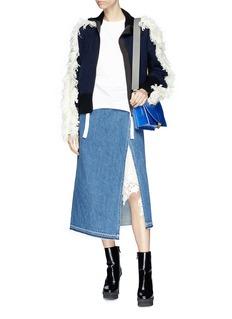 Sacai Fringed sleeve colourblocked wool knit jacket